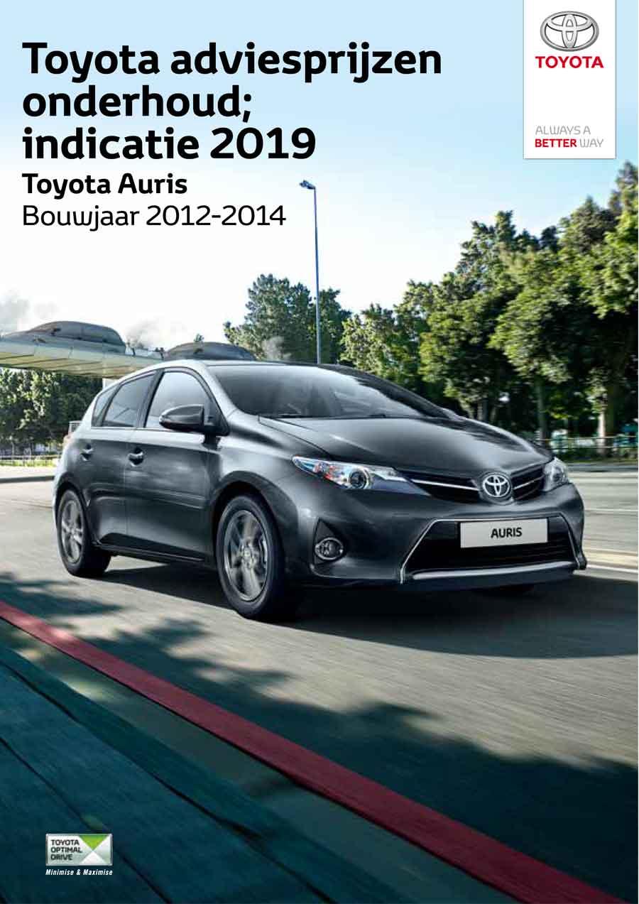 Toyota Auris 2012-2014 onderhoudsprijzen 2019
