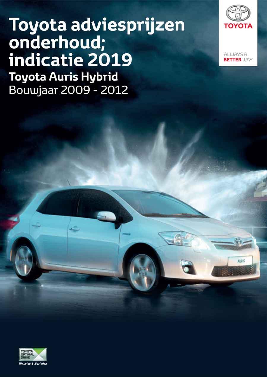 Toyota Auris Hybrid 2009-2012 onderhoudsprijzen 2019