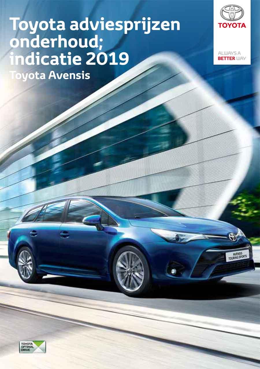 Toyota Avensis onderhoudsprijzen 2019