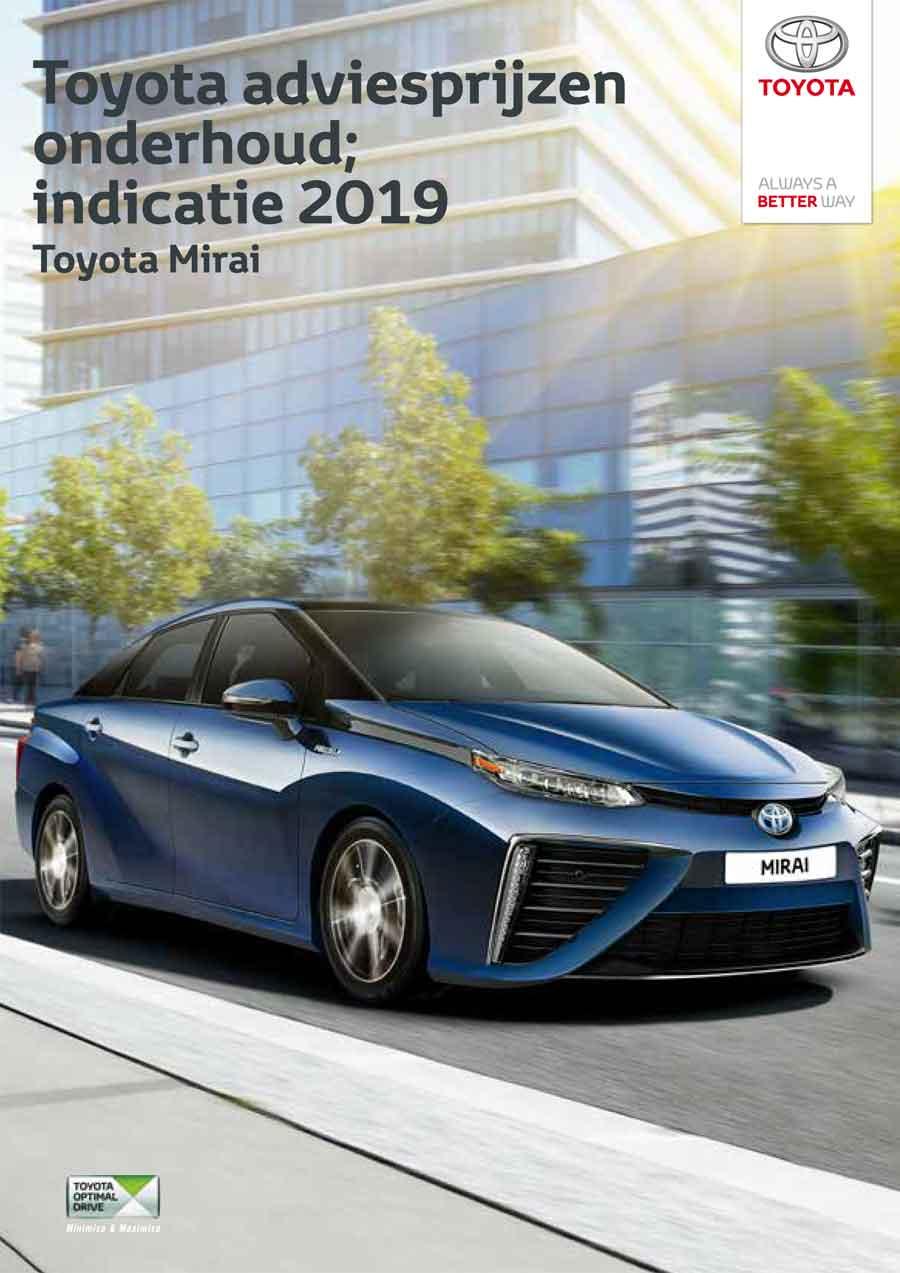 Toyota Mirai onderhoudsprijzen 2019
