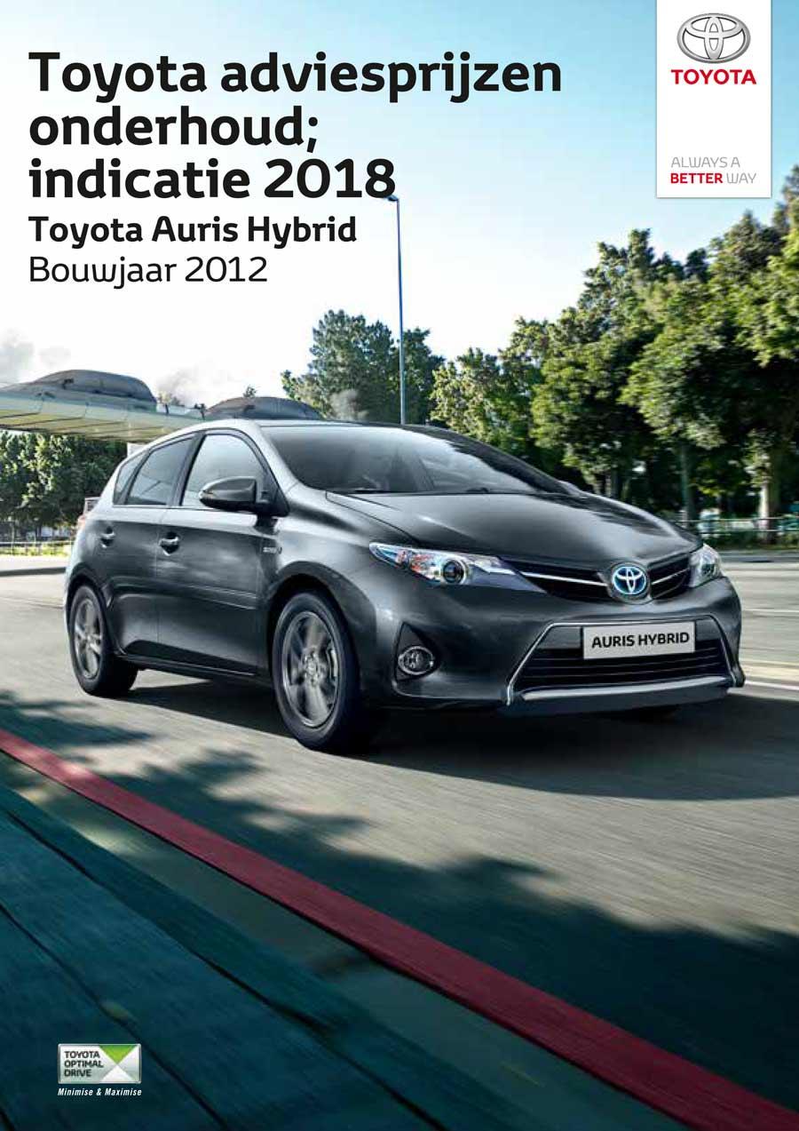 Toyota Auris onderhoudsprijzen 2018