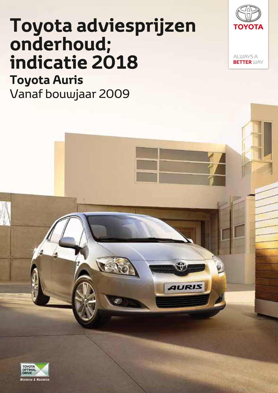 Toyota Auris 2009 -2013 onderhoudsprijzen bouwjaar vanaf 2008