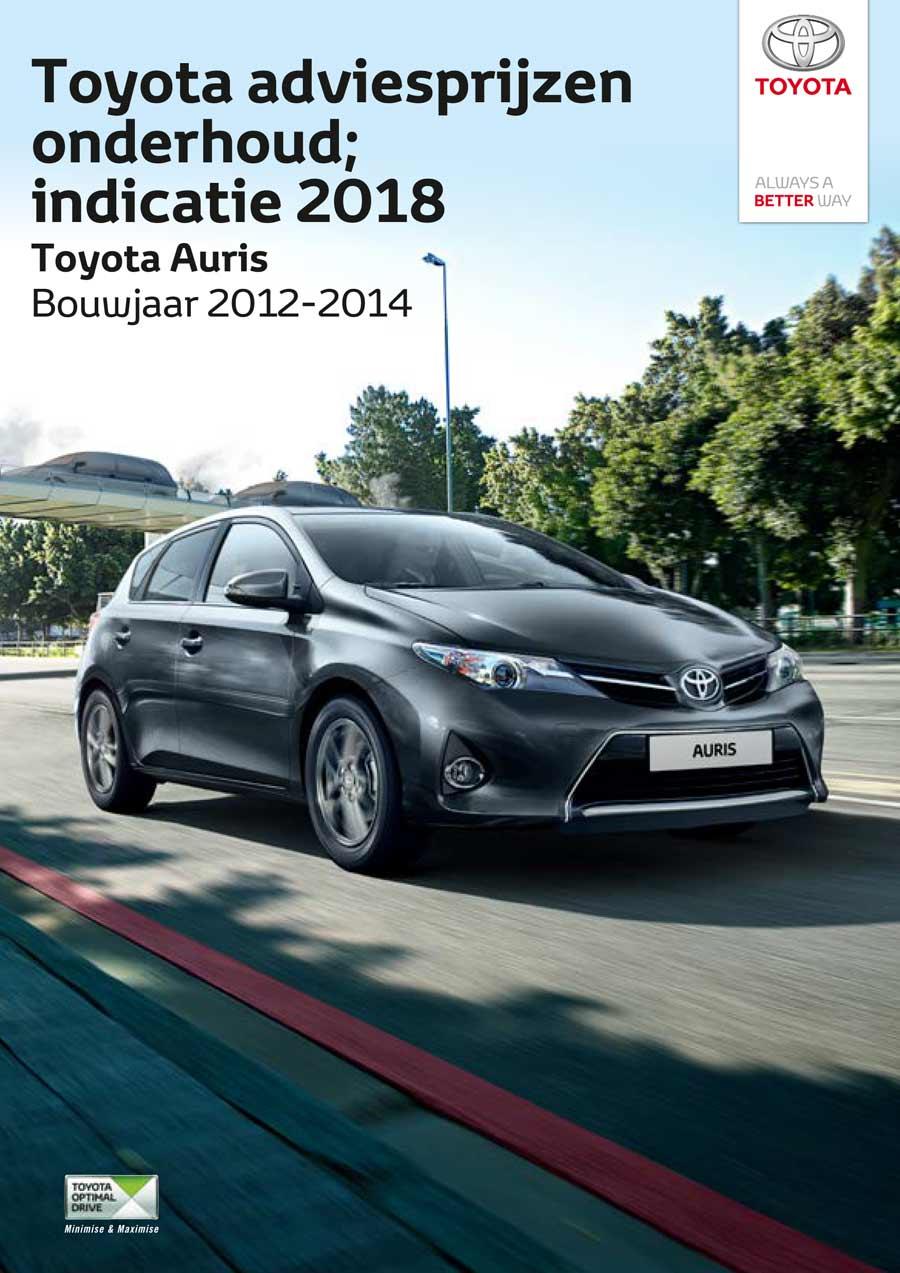 Toyota Auris 2012-2014 onderhoudsprijzen 2018