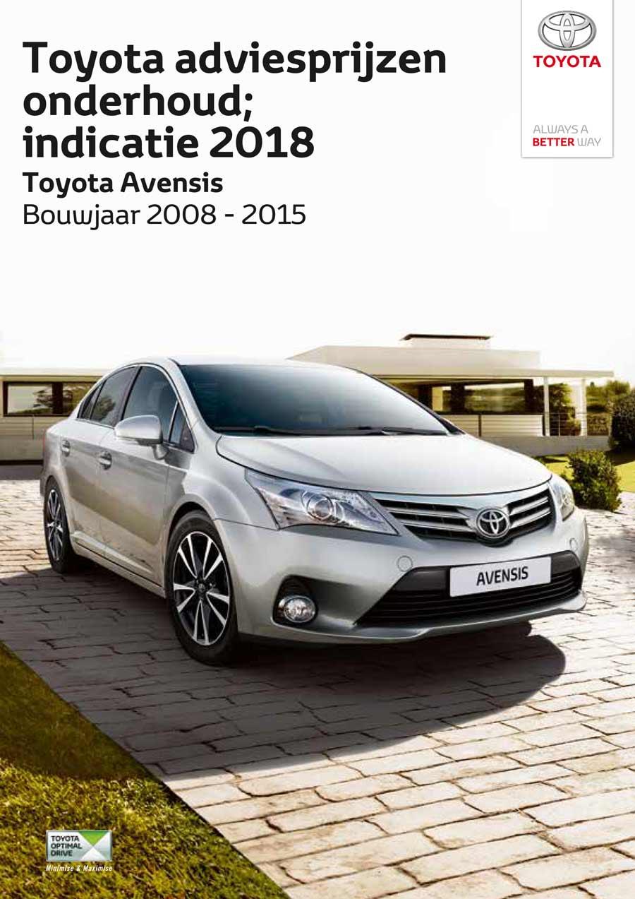 Toyota Avensis 2008-2015 onderhoudsprijzen 2018