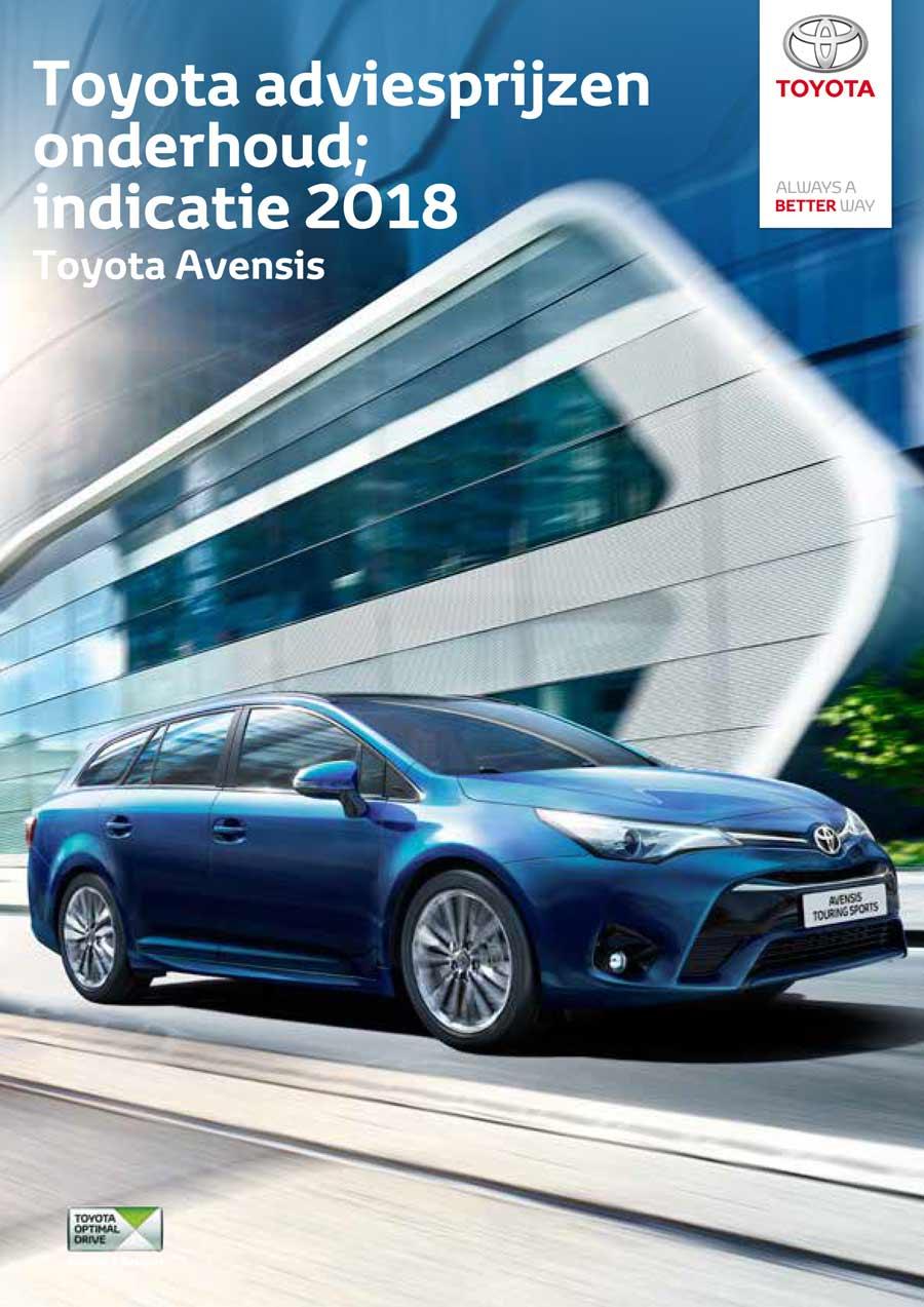 Toyota Avensis 2015 onderhoudsprijzen 2018