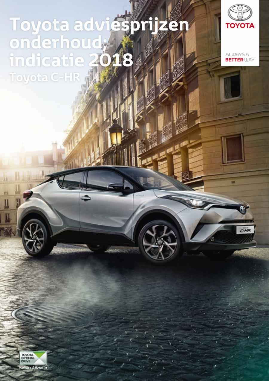 Toyota C-HR vanaf 2016 onderhoudsprijzen 2018