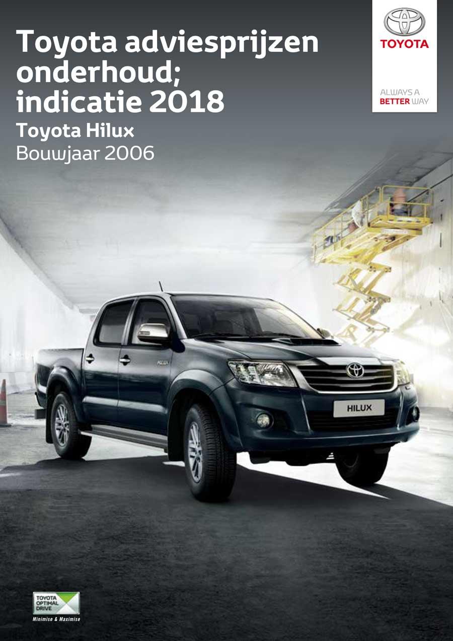 Toyota Hilux 2006 - 2012 onderhoudsprijzen 2018