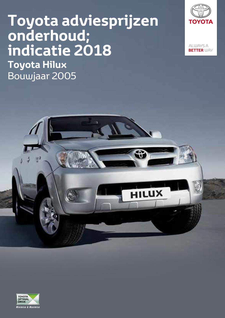 Toyota Auris Hybrid 2009-2012 onderhoudsprijzen 2018