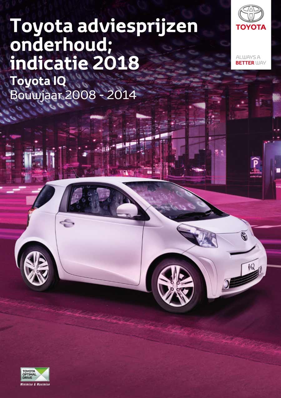 Toyota IQ onderhoudsprijzen 2008-2014