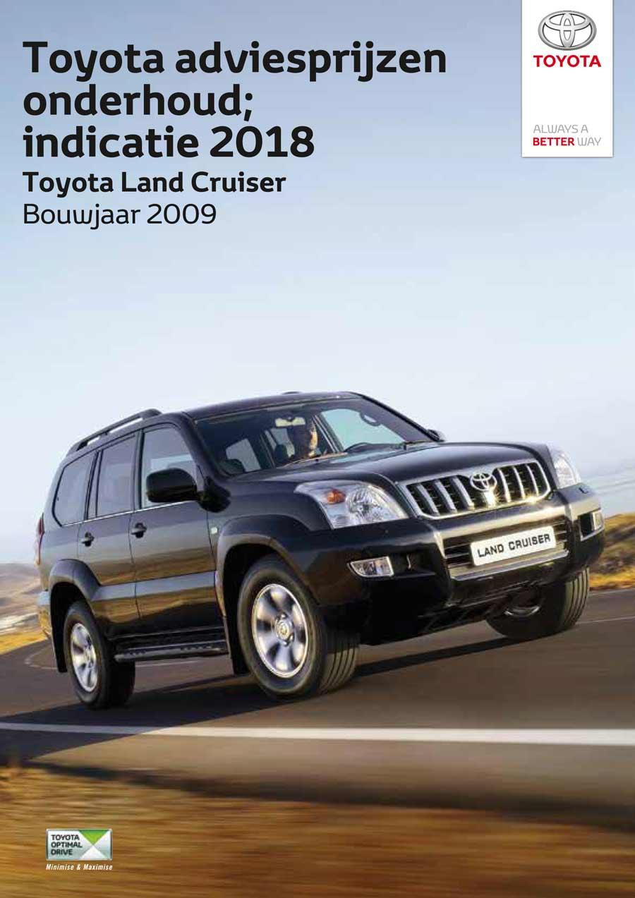 Toyota Land Cruiser 2009 - 2017 onderhoudsprijzen 2008