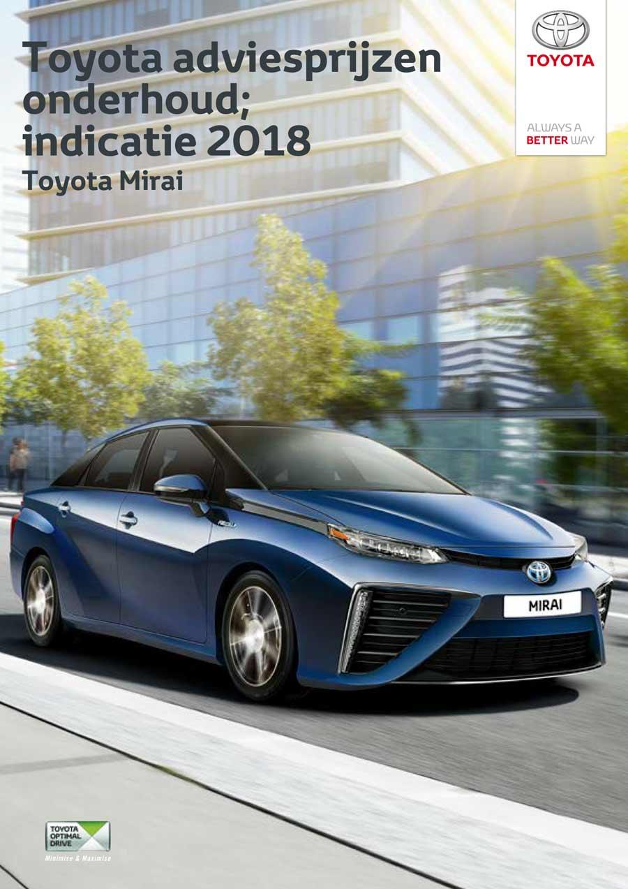 Toyota Mirai onderhoudsprijzen 2018