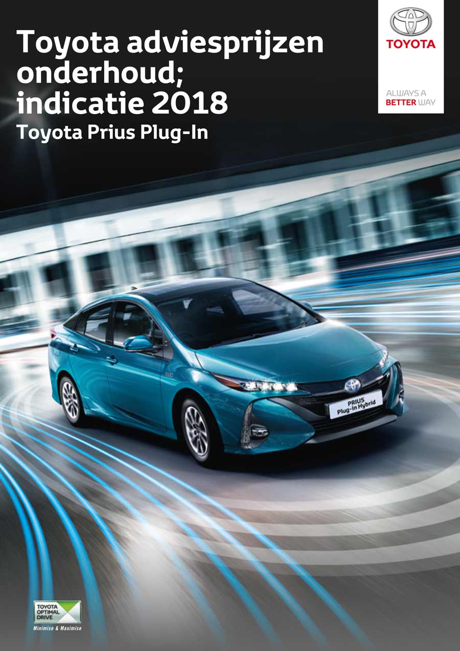Toyota Prius Plug-in onderhoudsprijzen 2018