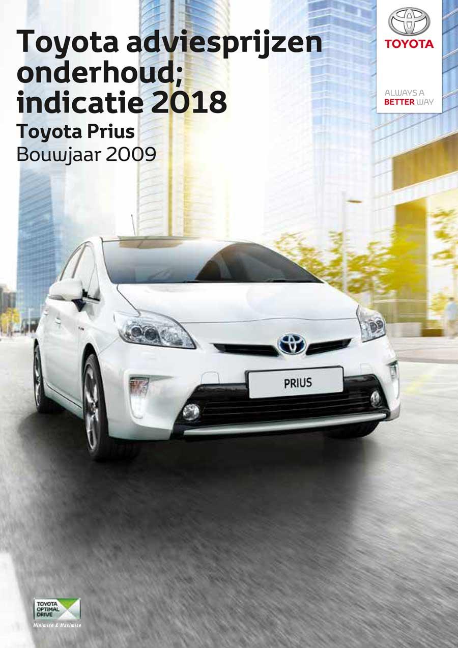 Prius bouwjaar 2009-2015 onderhoudsprijzen 2018