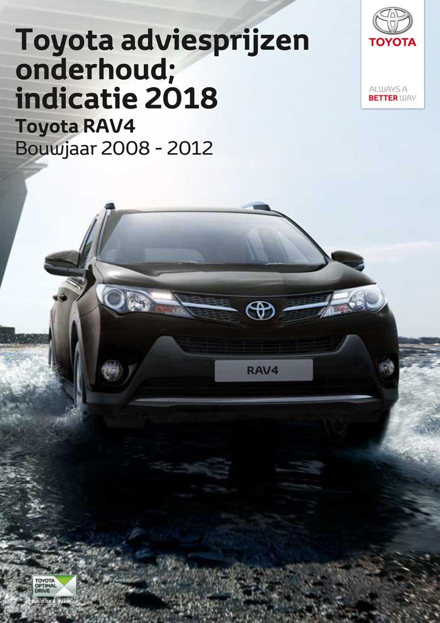 Toyota RAV4 onderhoudsprijzen 2018