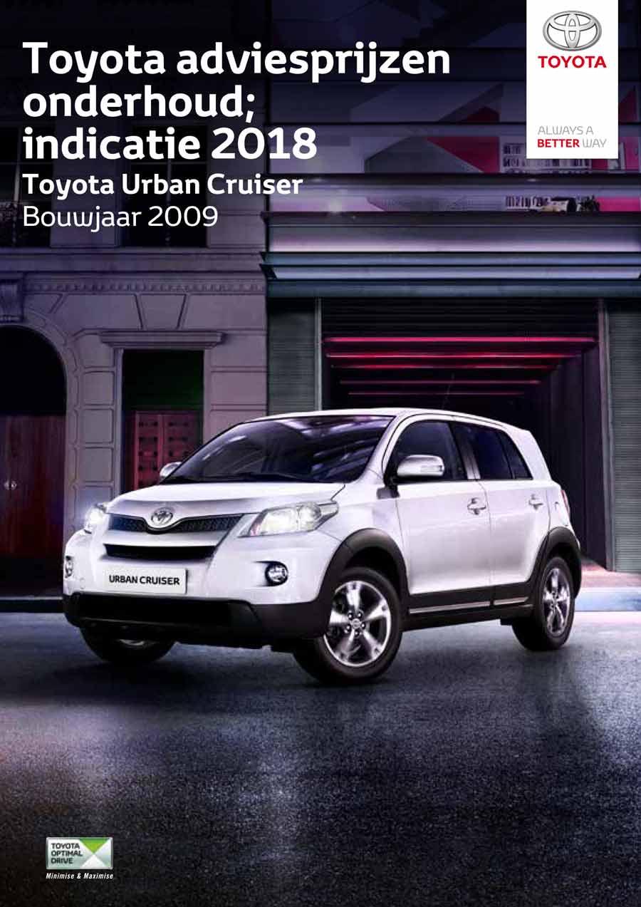 Toyota Urban Cruiser onderhoudsprijzen 2018