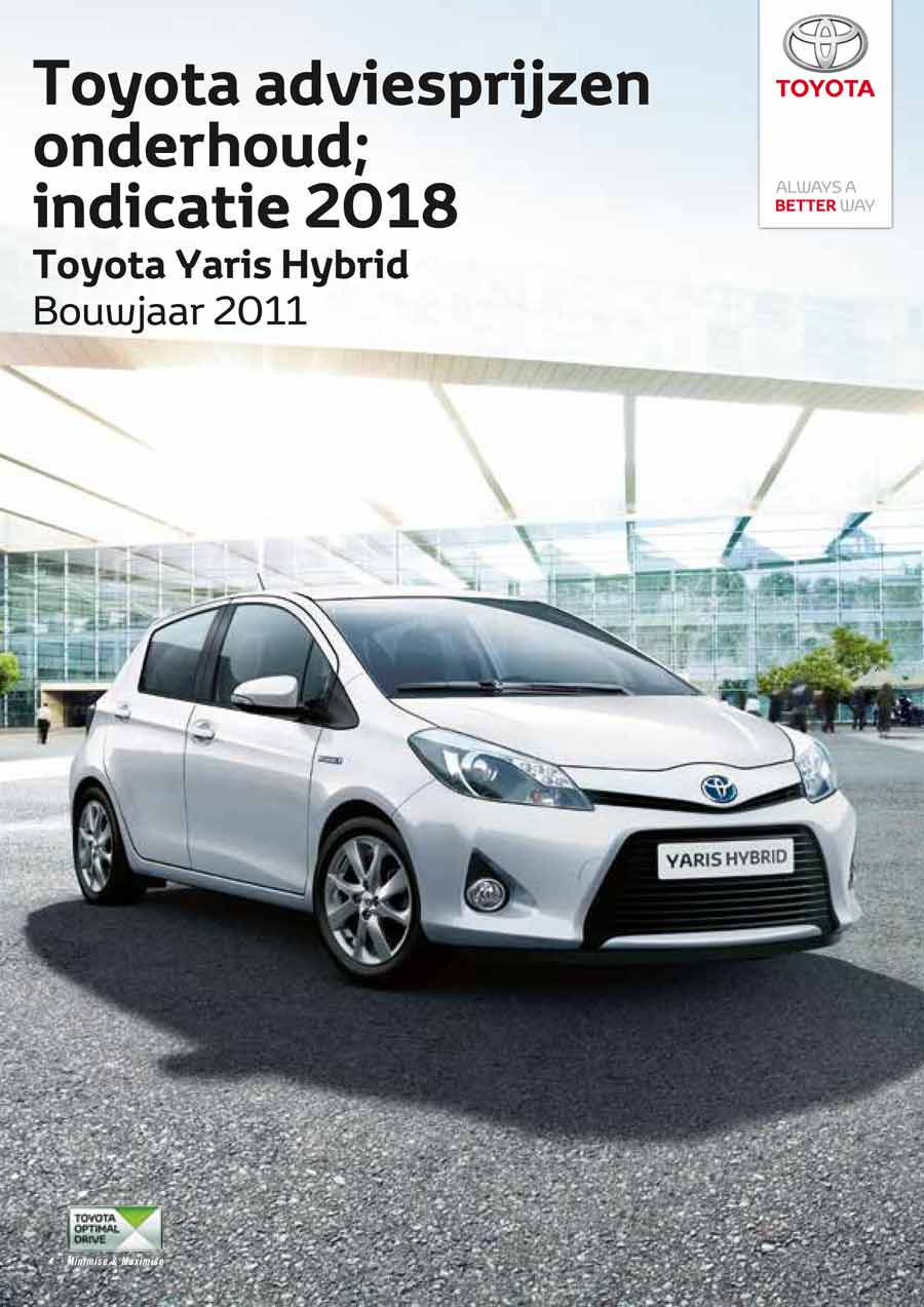 Toyota Yaris Hybrid onderhoudsprijzen bouwjaar vanaf 2008