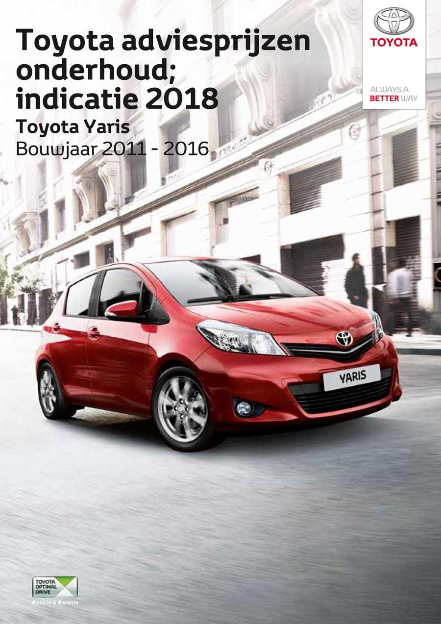 Toyota Yaris 2011-2016 onderhoudsprijzen 2018