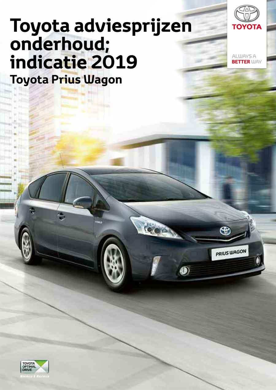 Toyota Prius Plus 2009 onderhoudsprijzen 2019