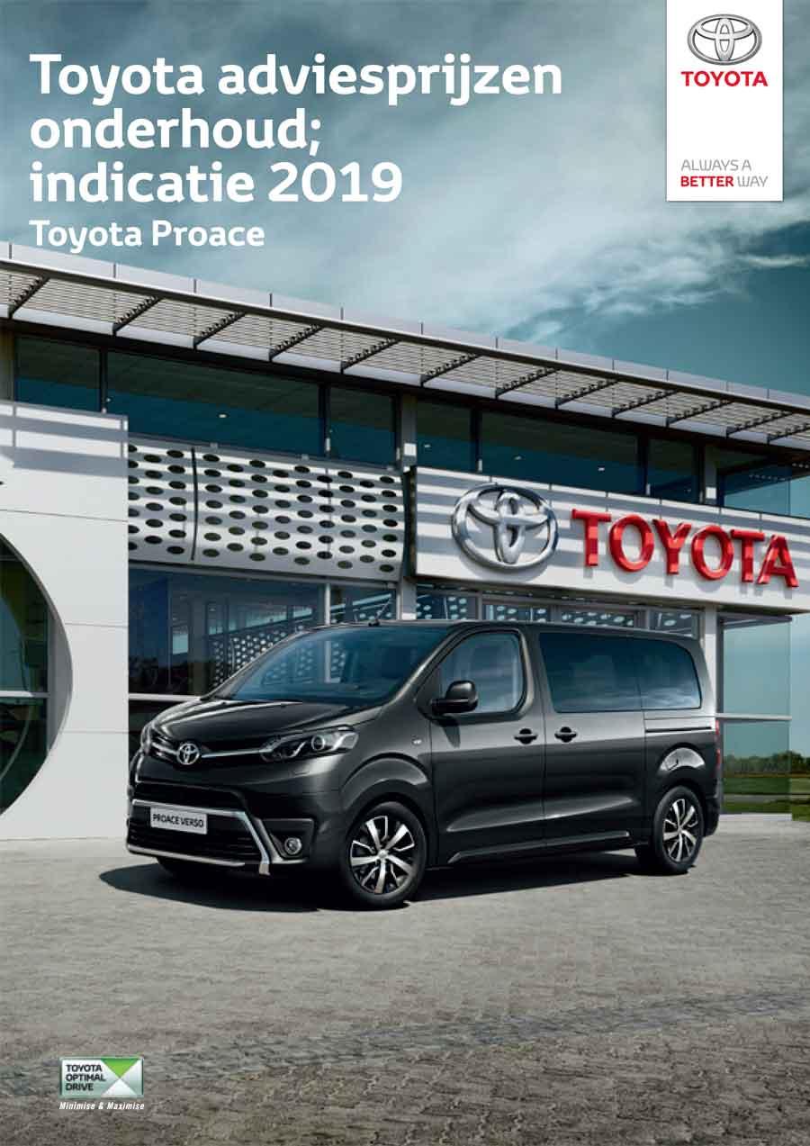 Toyota Proace onderhoudsprijzen 2019