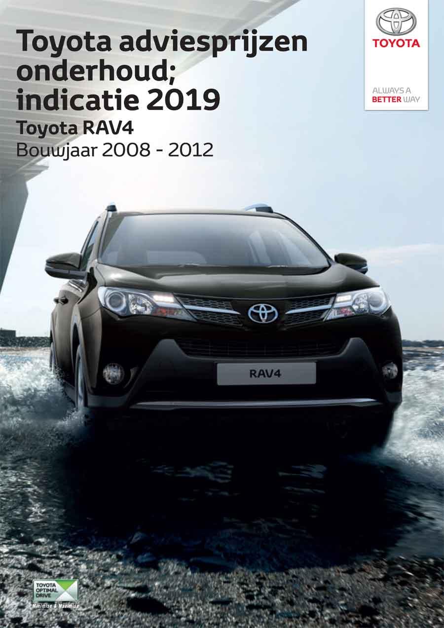 Toyota RAV4 onderhoudsprijzen 2019