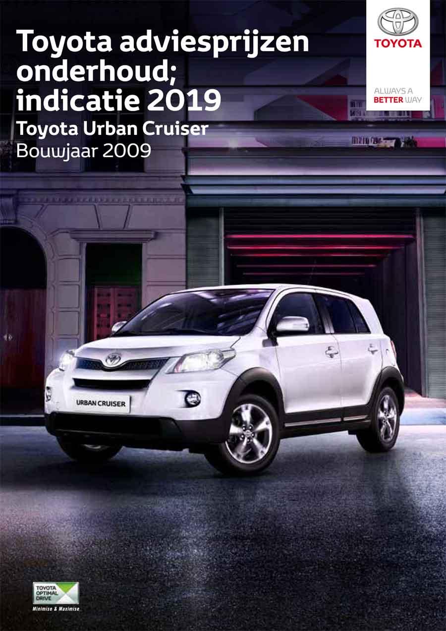 Toyota Urban Cruiser onderhoudsprijzen 2019