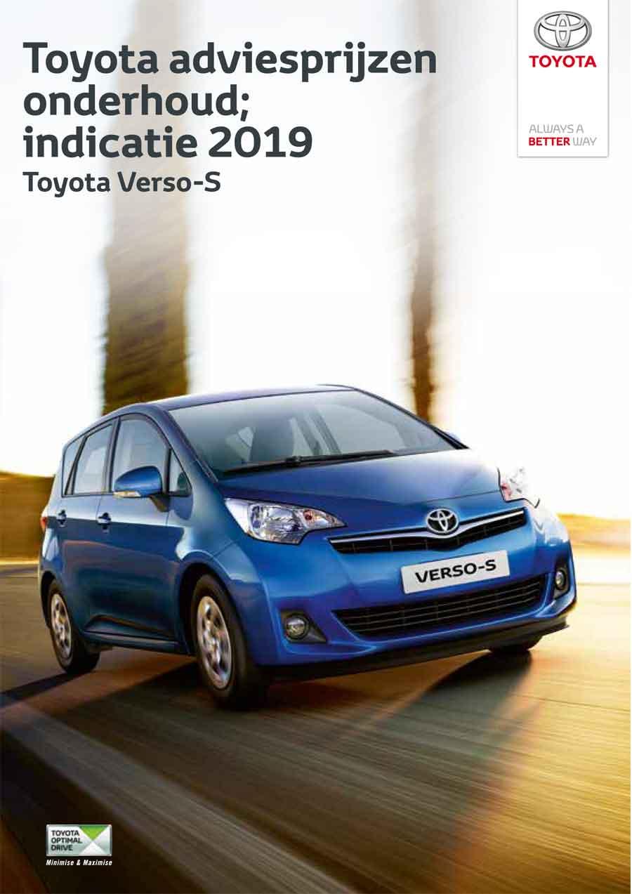 Toyota Verso S onderhoudsprijzen 2019