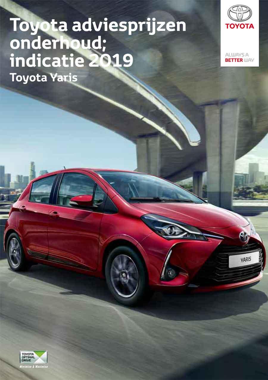 Toyota Yaris onderhoudsprijzen 2019