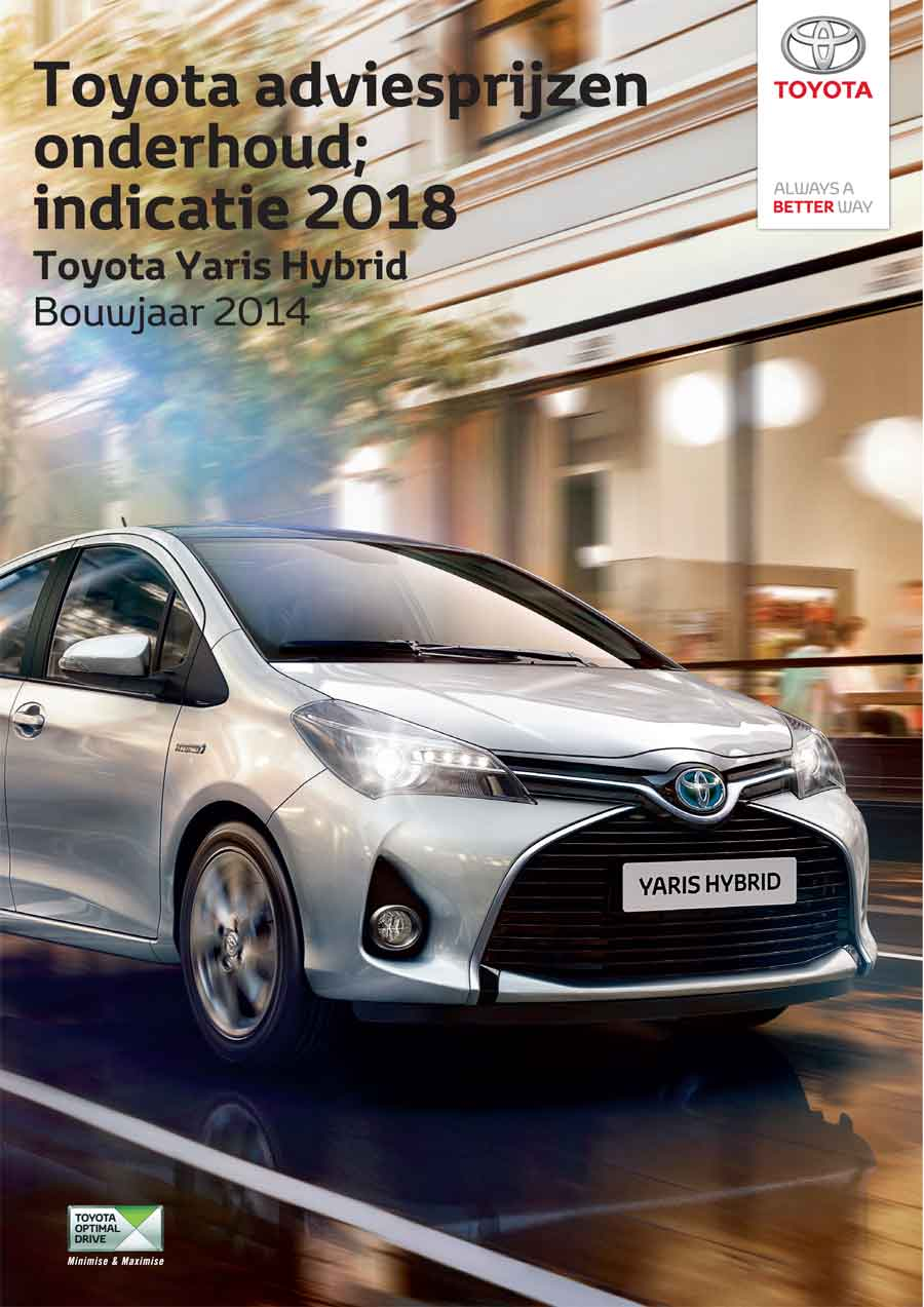Yaris hybride onderhoudsprijzen 2019