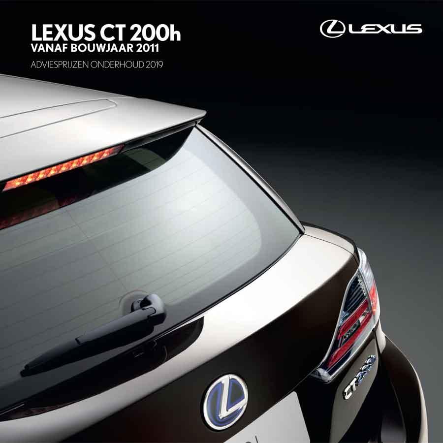Lexus CT 200h onderhoudsprijzen 2019