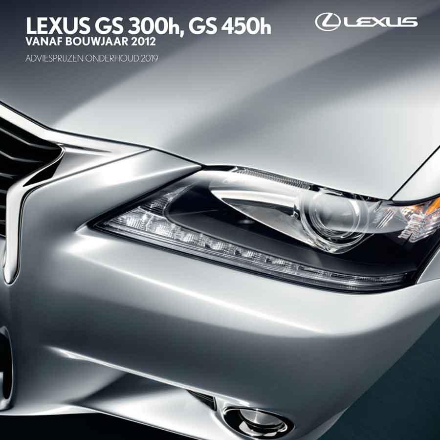 Lexus GS 300h GS 450h onderhoudsprijzen 2019