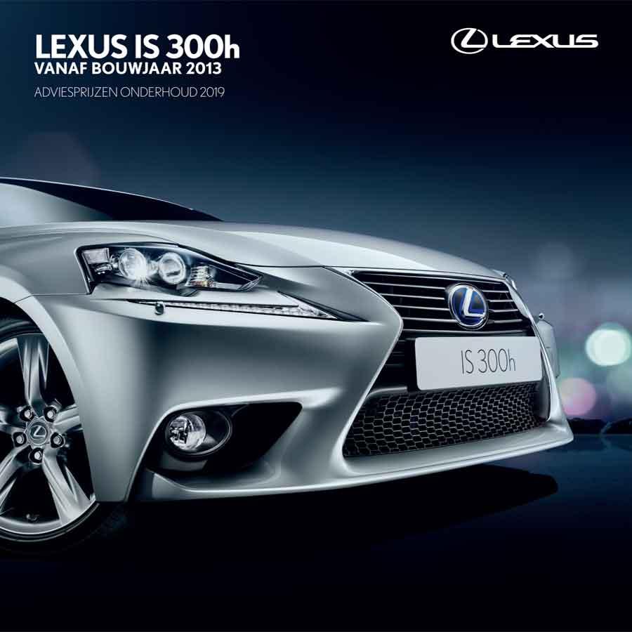 Lexus IS 300h onderhoudsprijzen 2019