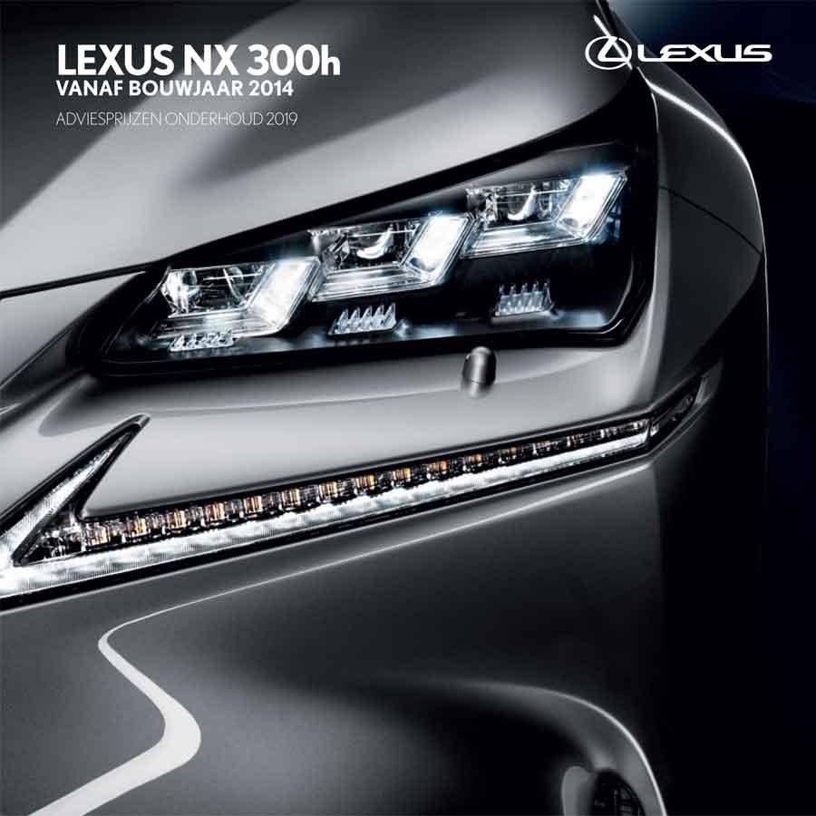 Lexus NX 300h onderhoudsprijzen 2019