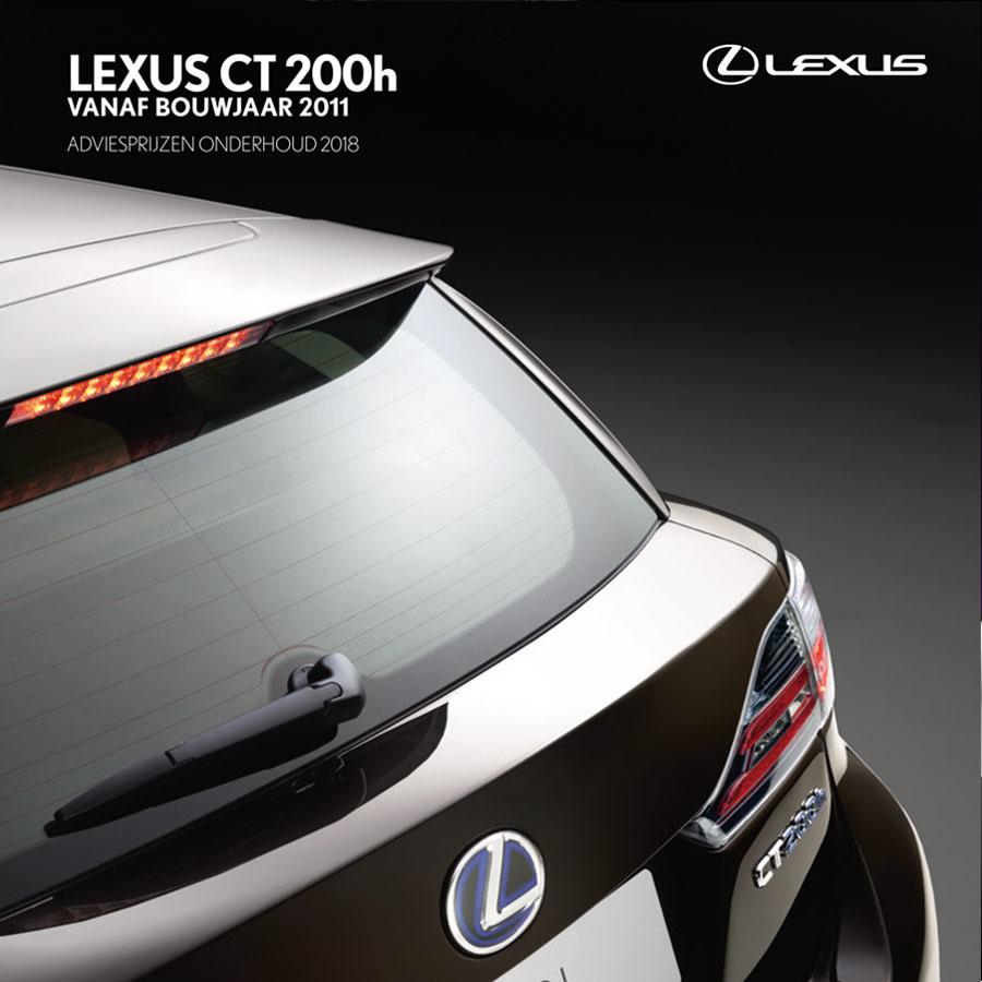 Lexus CT 200h onderhoudsprijzen 2018