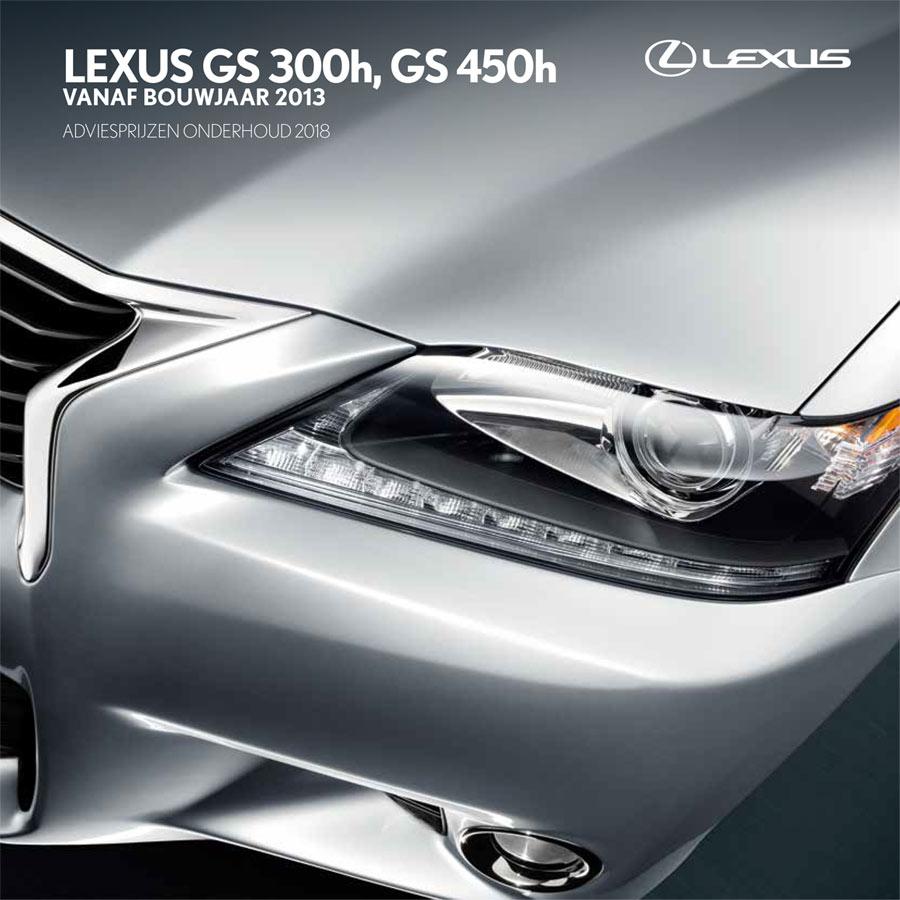 Lexus GS 300h GS 450h onderhoudsprijzen 2018