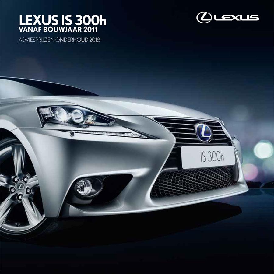 Lexus IS 300h onderhoudsprijzen 2018