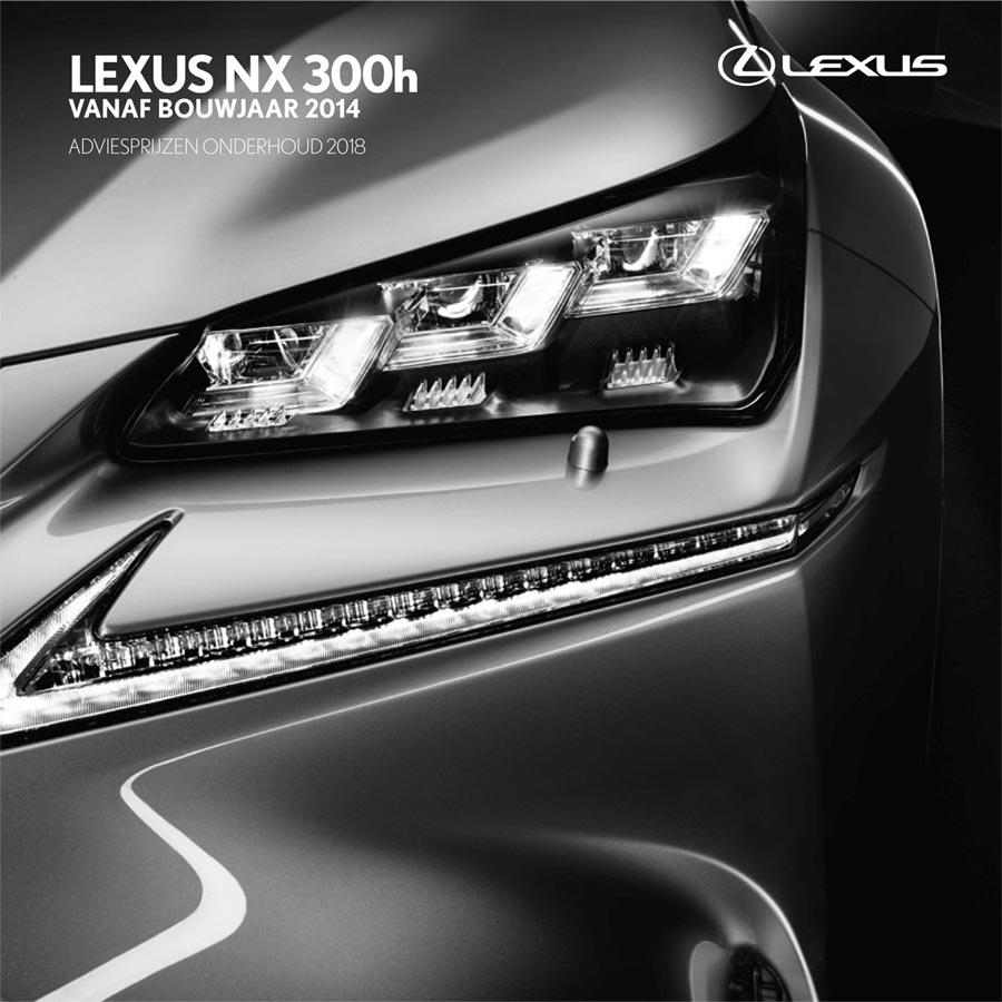 Lexus NX 300h onderhoudsprijzen 2018
