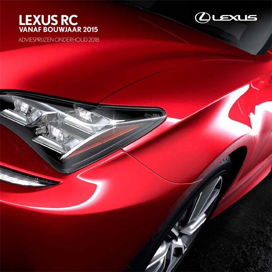 Lexus RC onderhoudsprijzen 2018