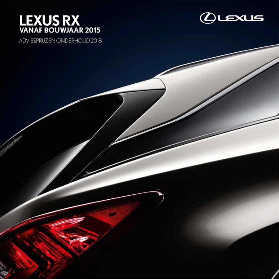 Lexus RX onderhoudsprijzen 2018