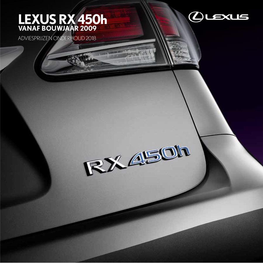 Lexus RX 450h onderhoudsprijzen 2018