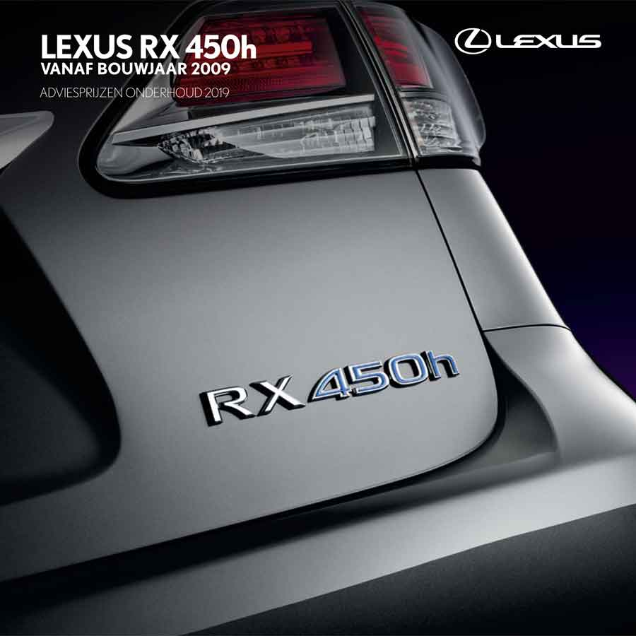 Lexus RX 450h onderhoudsprijzen 2019